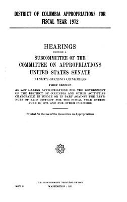 District of Columbia Appropriations for Fiscal Year 1972 PDF