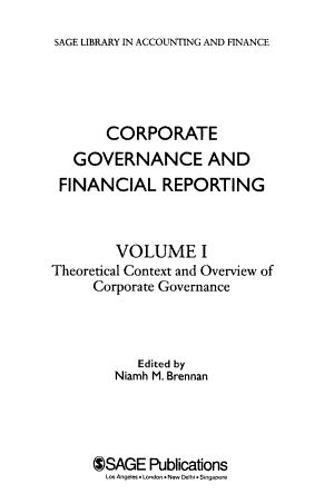 Corporate Governance and Financial Reporting: Theoretical context and overview of corporate governance