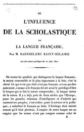 De l'influence de la scholastique sur la langue française