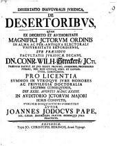Dissertatio iuridica de desertoribus