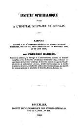 Rapport adressé à M. l'Inspecteur-général du service de santé militaire sur les maladies observées du 1. Nov. 1839, au 30 Juin 1840