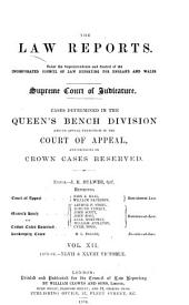 The Law Reports. Queen's Bench Division: Volume 12