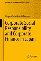 Corporate Social Responsibility and Corporate Finance in Japan PDF