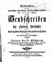 Gedancken von den epidemischen Kranckheiten und dem grösseren Sterben des 1757ten Jahres: in einem Sendschreiben an die Herren Verfassser der göttingischen Anzeigen von gelehrten Sachen ...
