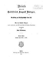 Briefe von und an Gottfried August Bürger: Briefe von 1767-1776