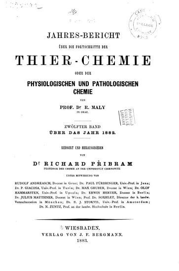 Jahresbericht   ber die Fortschritte der Tier Chemie  oder der Physiologischen  Pathologischen und Immuno Chemie und der Pharmakologie PDF
