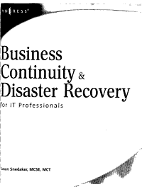 Business Continuity   Disaster Recovery for IT Professionals