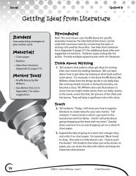 Writing Lesson Level 1 Getting Ideas From Literature Book PDF