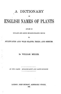 A Dictionary of English Names of Plants PDF