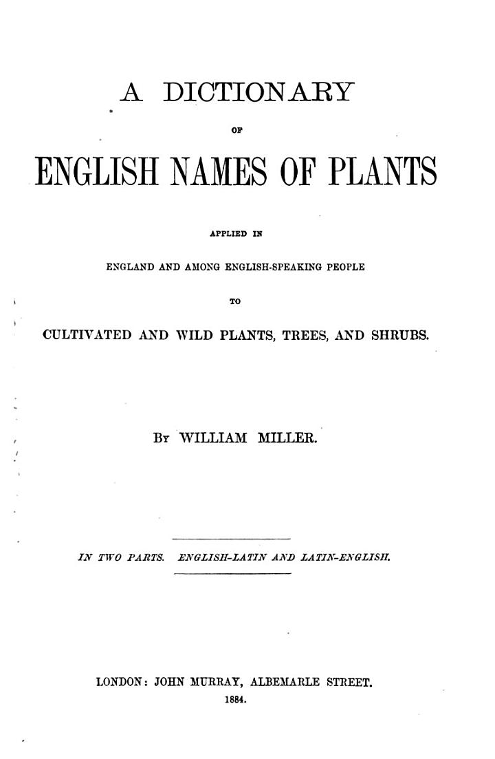 A Dictionary of English Names of Plants