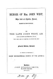 Memoir of mrs. John West. To which is prefixed a brief biographical notice of the author [by F.G. West].