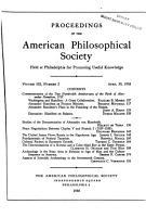 Proceedings  American Philosophical Society  vol  102  no  2  1958  PDF