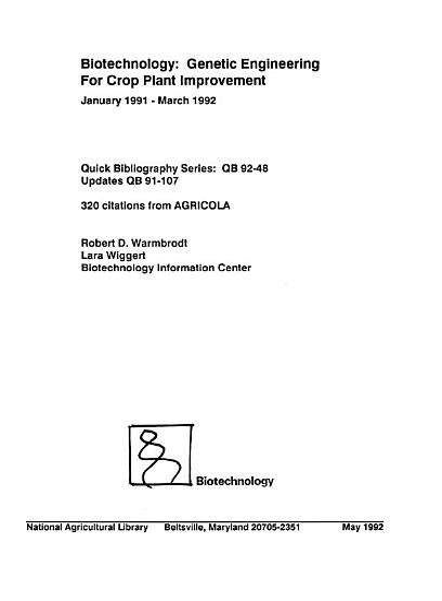 Biotechnology  Genetic Engineering for Crop Plant Improvement PDF