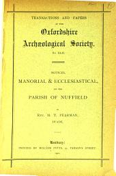 Notices, manorial & ecclesiastical, of the Parish of Nuffield