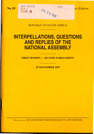 Interpellations  Questions and Replies of the National Assembly PDF