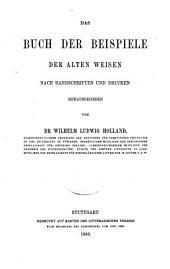 Das Buch der Beispiele der alten Weisen: Nach Hss. u. Dr
