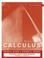 Student Solutions Manual to accompany Calculus  Multivariable 2e PDF