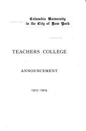 Announcement of Teachers College, Columbia University