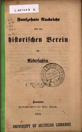 Nachricht über den Historischen Verein für Niedersachsen: Ausgabe 15