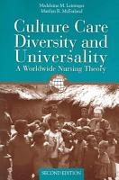 Culture Care Diversity and Universality PDF