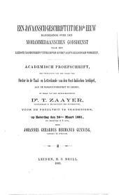 Een javaansch Geschrift uit de 16de eeuw: handelende over den mohammedaanschen Godsdienst naar een Leidisch Handschrift uitgegeven en met Aanteebeningen vorzien
