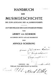 Handbuch der Musikgeschichte bis zum Ausgang des 18. Jahrhunderts