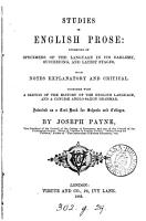 Studies in English prose  specimens  with notes  by J  Payne PDF