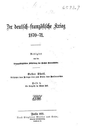 Th  Geschichte des Krieges bis zum Sturz des Kaiserreichs PDF