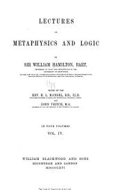 Lectures on metaphysics and logic: Volume 4