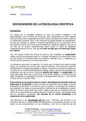 SOCIOGENESIS DE LA PSICOLOGIA CIENTIFICA