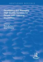 Developing and Managing High Quality Services for People with Learning Disabilities PDF