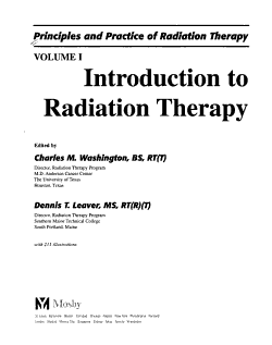 Principles and Practice of Radiation Therapy  Introduction to radiation therapy PDF