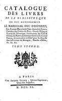 Catalogue des livres de la biblioth  que de feu monseigneur le mar  echal duc d Estr  es  pair  premier mar  chal et vice admiral de France    PDF