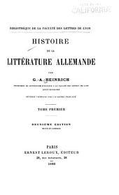 Histoire de la littérature allemande: Volume1