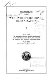 Members of the War Industries Board Organization...