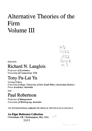 Alternative Theories of the Firm PDF