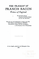 The Tragedy of Francis Bacon  Prince of England PDF