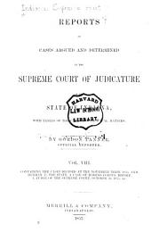 Reports of Cases Argued and Determined in the Supreme Court of Judicature of the State of Indiana: Volume 8