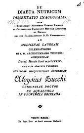 De diaeta nutricum. Diss. inaug. med. - Ticini regii 1824