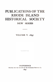 Publications of the Rhode Island Historical Society: Volume 5