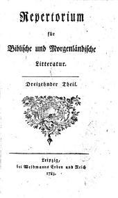 Repertorium für Biblische und Morgenländische Litteratur: Bände 13-14