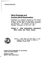 Mine Drainage and Surface Mine Reclamation: Mine reclamation, abandoned mine lands, and policy issues