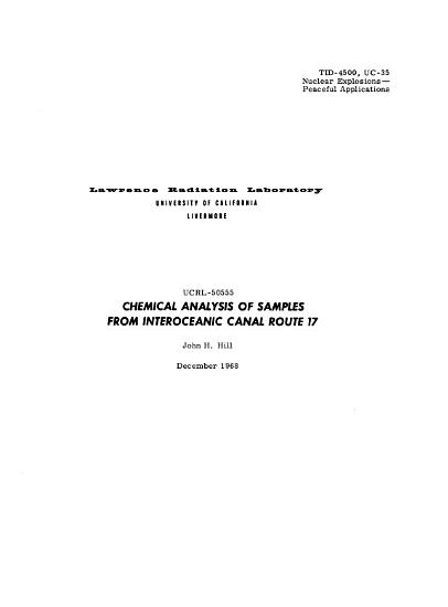 Chemical Analysis of Samples from Interoceanic Canal Route 17 PDF
