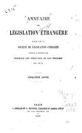Annuaire de législation étrangère: Volume5