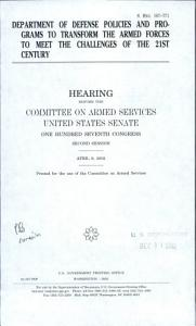 Department of Defense Policies and Programs to Transform the Armed Forces to Meet the Challenges of the 21st Century PDF