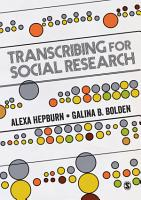 Transcribing for Social Research PDF