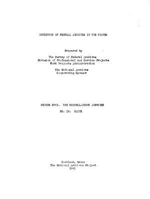 Inventory of Federal Archives in the States PDF