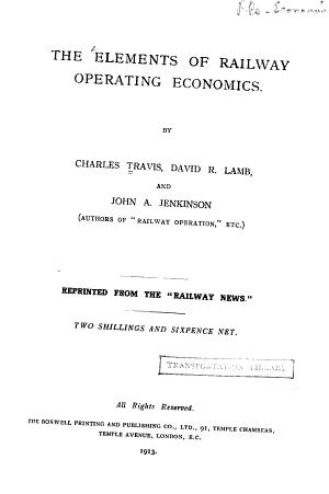 The Elements of Railway Operating Economics