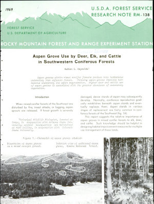 Aspen Grove Use by Deer  Elk  and Cattle in Southwestern Coniferous Forests