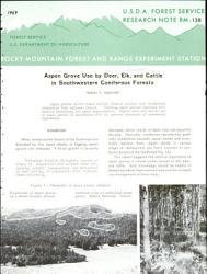 Aspen Grove Use By Deer Elk And Cattle In Southwestern Coniferous Forests Book PDF